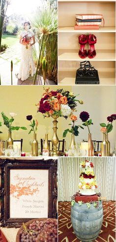 gold painted wine bottles- fall wedding color theme idea