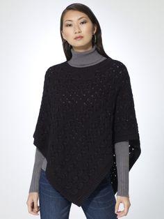 Crew neck open stitched poncho. Ribbed edges. 55% cotton, 25% nylon, 20% viscoseImportDry clean or machine wash