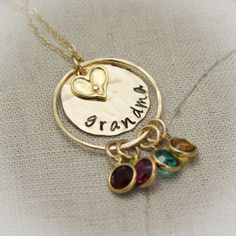 Grandmother Necklace 14K Gold Filled Hand Stamped Personalize with Grandchildren Birthstones