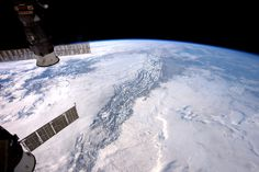 """Rocky Mountains From Orbit: Expedition 50 Flight Engineer Thomas Pesquet of the European Space Agency photographed the Rocky Mountains from his vantage point in low Earth orbit aboard the International Space Station. He shared the image with his social media followers on Jan. 9 2017 writing """"the Rocky mountains are a step too high  even for the clouds to cross."""""""