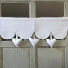 Cantonniere Coeur Decoration Romantique Heart Valance Romantic Decoration Romantic valancesCantonniere with Hearts LCantonniere with Hearts L Window Coverings, Window Treatments, Red Kitchen Curtains, Window Dressings, Shabby Chic Kitchen, Drapes Curtains, Valances, Decoration, Pillows