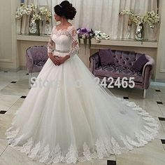 Find More Wedding Dresses Information about Custom Made Boat Neck Wedding Dress Long Sleeve Sweep Train Ball Gown Tulle Bridal Gown With Appliqued MC21,High Quality gowns children,China gown shoes Suppliers, Cheap gown evening from TBNA Bridal on Aliexpress.com