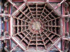 The wooden roof of the Mountain Gate at Lungshan Temple in Lukang, Taiwan, employs the traditional Chinese dougong bracketing system. Sun Moon Lake, Traditional Chinese, Taiwan, Gate, Temple, Mountain, Arch, China, Travel
