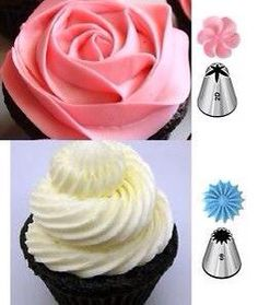 Wilton & Icing Nozzles / Tips for Cakes & Cupcakes Fondant Cupcakes, Cake Icing, Cupcake Cakes, Party Cupcakes, Cupcakes Design, Cake Designs, Cake Decorating Techniques, Cake Decorating Tips, Cookie Decorating