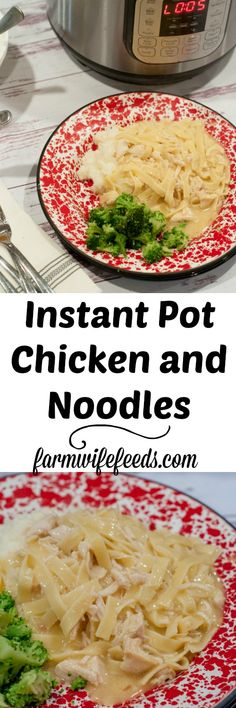 Instant Pot Chicken and Noodles from Farmwife Feeds, all the flavor of cooked all day richness in a lot less time. Best Pasta Recipes, Best Chicken Recipes, Cooking Recipes, Cooking 101, Top Recipes, Instant Pot Dinner Recipes, Easy Dinner Recipes, Simple Recipes, Dinner Ideas