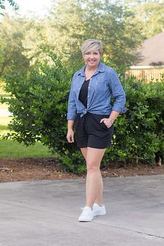Tie a chambray shirt at the waist or around the waist of your romper for a cute casual outfit. Pair with white sneakers.