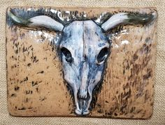 "Cow skull ceramic wall tile, handmade.  6"" x 8"". Ceramic tile art. Bathroom tiles, kitchen tiles, fireplace tiles, western decor."