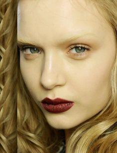 Romantic Goth autumn/winter 2012 make-up trend.  Dark, red lipstick.  Model at Gucci.