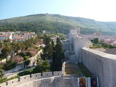 SW corner of the Dubrovnik wall, looking back at the hill where the Yugoslav army shelled the city in 1991.