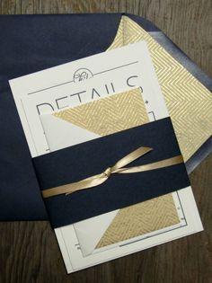 Navy + Gold Chevron & Arrow Wedding Invitation Suite on Tiffany Lane Handmade