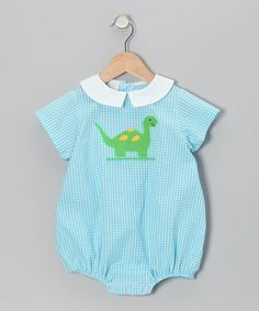 Take a look at this Aqua Gingham Dinosaur Bubble Bodysuit - Infant by Betti Terrell on #zulily today!