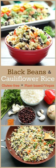 Recipe: Black Beans and Cauliflower Rice (Gluten-Free, Vegan / Plant-Based) Black Beans and Cauliflower Rice ?A zippy, flavorful dish that? lower in carbs and higher in nutrients than traditional beans and white rice, but equally as tasty and versatile! Low Carb Recipes, Whole Food Recipes, Diet Recipes, Vegetarian Recipes, Cooking Recipes, Healthy Recipes, Delicious Recipes, Zoodle Recipes, Recipies