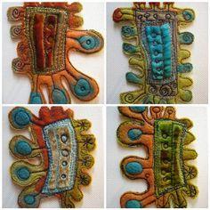 edges for my prayer flags Fabric Brooch, Felt Brooch, Textile Jewelry, Fabric Jewelry, Textiles, Fibre And Fabric, Textile Fiber Art, Wool Art, Sewing Art