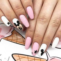 Barbie Pink Nails, Checkered Nails, Mickey Nails, Best Acrylic Nails, Beautiful Nail Designs, Gorgeous Nails, Nail Arts, Skin Makeup, Beauty