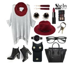 """""""burgundy and gray shein sweater"""" by skittlebum ❤ liked on Polyvore featuring SWEET MANGO, CB2, Valfré, Olivia Burton, Kate Spade, Eddie Borgo, NARS Cosmetics, Sheinside, burgundy and fall2015"""