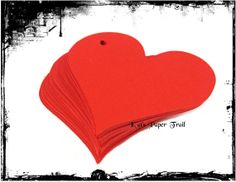 Red Paper Heart Shape Tags  Red Paper Tags  by KatsPaperTrail, $3.50
