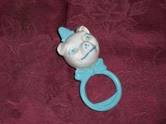 Vintage 1950s Hard Plastic Tip Top Toys Blue and White Pig Baby Rattle #TipTopToys