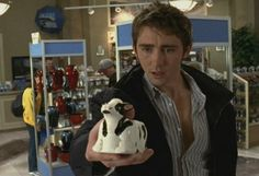 """Lee Pace in Wonderfalls - Aaron and the cow creamer. """"Your brother is praying for you. You know how he feels about that."""""""