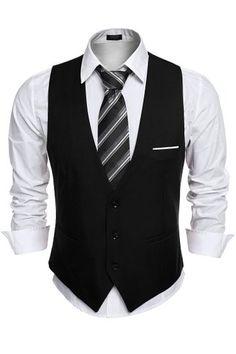 08e97ecc2374b Coofandy Mens V-neck Sleeveless Slim Fit Jacket Casual Suit  Vests
