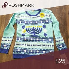 RARE Happy Hanukkah UGLY Christmas Sweater RARE New Ugly (Christmas)Sweater M Happy Hanukkah Sweater -Materials: 60% Cotton/40% Acrylic -Crew Neck -Long Sleeve - LED Lights Built Into Fabric Eyeshadow Sweaters