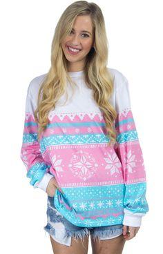 Christmas Sweater Tee - Pink Snowflake – Lauren James Co.