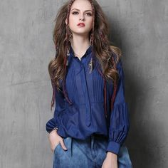 2017 Spring Summer Mulberry Silk Blouse Women Lantern Sleeve Stand Collar Pleated Vintage Blouse Loose Casual Shirt Tops#170329