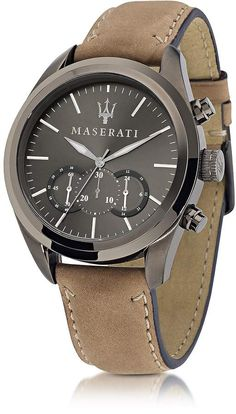 Maserati Pole Position Chronograph Gunmetal Dial and Brown Leather Strap Men's Watch