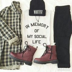 Graphic t, plaid, black jeans & boots