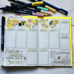 My last bee themed #weeklyspread for April. Complete with Lightning McQueen quote 🤣#bulletjournal #bujoinspiration #bujo2018 #bujo…