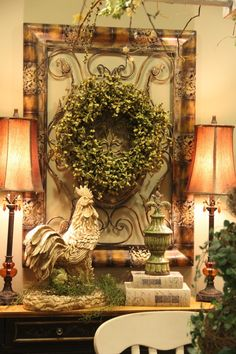 This is a warm and beautiful vignette, & we have those items:  Gotta try it on the piano. #FrenchDecor