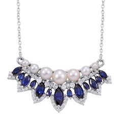 Lab Created Blue Sapphire, Freshwater Pearl, and Simulated Diamond Necklace in Platinum Overlay Sterling Silver (Nickel Free) | #CustomerCreations