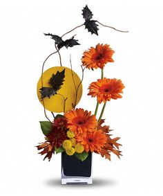 Teleflora's Boo-tiful Bats - Bats off to you for showing your Halloween spirit. With flowers, bats and a glowing full moon, this arrangement is a scream! #CampbellsFlowers #Halloween