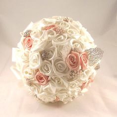Wedding Bouquet / Bridal Bouquet with crystal brooches,Salmon bouquet, pink bouquet, Ivory fabric flowers/ Brooch Bouquet / Retro Bouquet