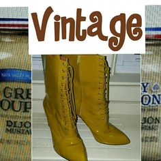 VRG Pour la Victoire mustard boots 10 Hardly worn. Unusual heel. 3.5 inches. Only show wear on soles. Even soul is leather. This is a quality boot with laces in the front but zip down the side. No low balls please I paid over $200 for these. I can no longer wear heels. Reasonable offers welcome. Pour la Victoire Shoes Heeled Boots