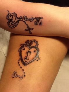 Separated lock and key tattoo design. Both designs match as they are elaborate and have the same beads of the rosary signifying the pairing.