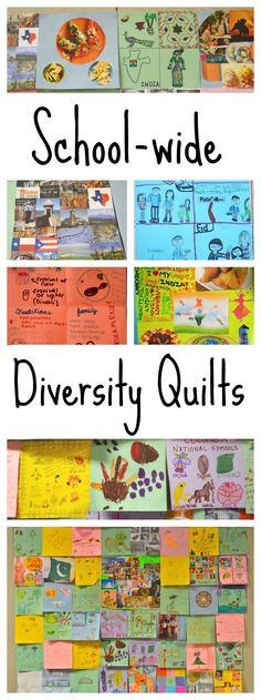Diversity Quilts for International Week Kids- It was such a wonderful representation of our school and community, and visual depiction of how distinct traditions can coexist beautifully side-by-side. Diversity Bulletin Board, Diversity In The Classroom, Multicultural Classroom, Multicultural Activities, Classroom Activities, Activities For Kids, Classroom Ideas, Bulletin Boards, Classroom Signs