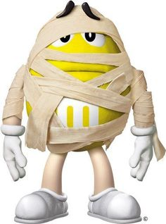 yellow m m wearing mummy costume