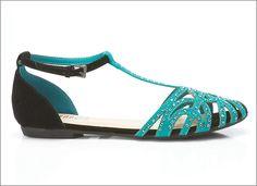 Strappy #rhinestone flat sandals.