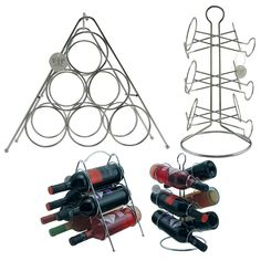 Add an elegant touch to your kitchen with this set of matching silver metal wine racks. Display your favorite bottles on these solid iron plated racks to make a lasting impression at your next dinner party. Each rack can hold up to 12 bottles.