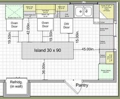 kitchen layouts with island Kitchen Remodel Island Design Traffic Work Triangle Kitchen Layouts With Island, Kitchen Cabinet Layout, Kitchen Redo, New Kitchen, Kitchen Island Size, Kitchen Layout Plans, Kitchen Hacks, Kitchen Ideas, Long Kitchen
