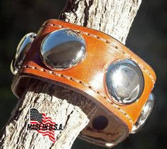 Wrist Cuff Handmade Brown Leather Bracelet, Cowgirl Giant Spots | RockCreekStation - Leather Craft on ArtFire