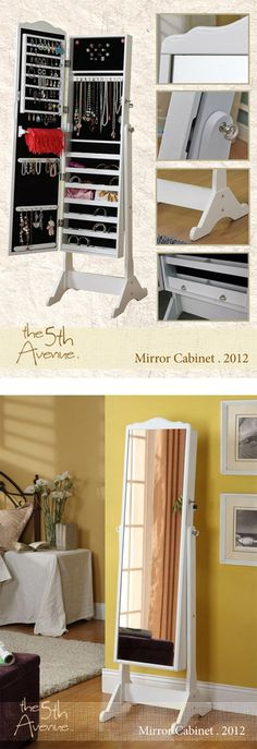 Stash blings and trinkets in a stylish Wooden Mirrored Jewelry Full Length Storage Cabinet with Accessory Organizer!