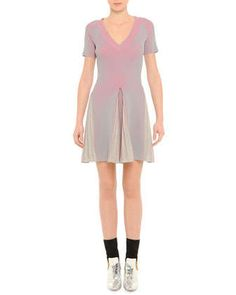V-Neck Ribbed Pleated Dress, Pink/Gray by Marco de Vincenzo at Neiman Marcus.