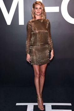 rosie huntington tom ford 2015 gold dress