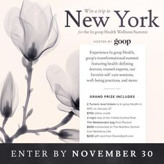 In goop Health Summit in New York City is back!  Don't miss out on this health-defining summit, meeting the top M.D.'s and wellness experts in the industry! #ingoophealth