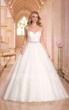 Charming A-line Bateau Straps Beading&Sequins Lace Sweep/Brush Train Tulle Wedding Dresses _1