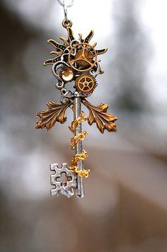 Autumn's Sun Key Necklace by KeypersCove on Etsy