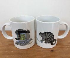 Pair Vintage 1989 B Kliban Cat Playing Computer Mouse Meow Ceramic Coffee Mug Cat Coffee Mug, Cat Mug, Black Cat Appreciation Day, Kliban Cat, I Love Coffee, Vintage Coffee, Vintage Ceramic, Black Cats, Mug Cup