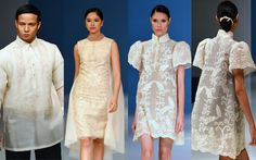 Barong with a difference Long Formal Gowns, Formal Dresses, Formal Wear, Modern Filipiniana Dress, Filipiniana Wedding, Filipino Fashion, Philippines Fashion, Grad Dresses, Beautiful Gowns