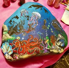 My favorite rock that I've painted thus far. #ocean #acrylic #paintedstones #art #rockart #cowlitzcountyrocks #art #paint